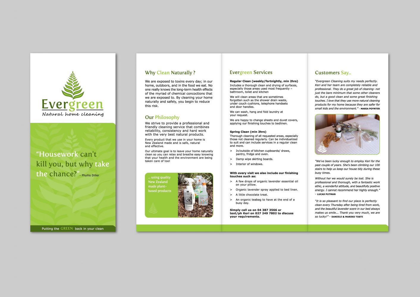 Evergreen Natural Cleaning Promotional Brochure